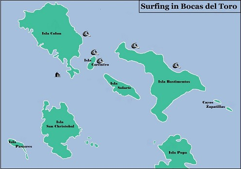 Surf map - Bocas del Toro